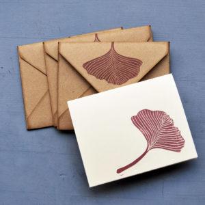 Set carte da lettera decorate a mano Gingko Leaves buste