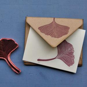 Set carte da lettera Gingko Leaves timbro