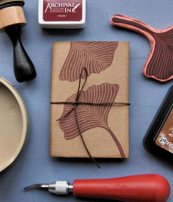 Set regalo 2 quaderni Gingko Leaves timbro