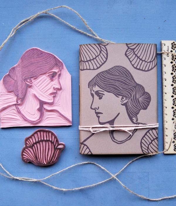 taccuino artigianale Virginia Woolf timbro