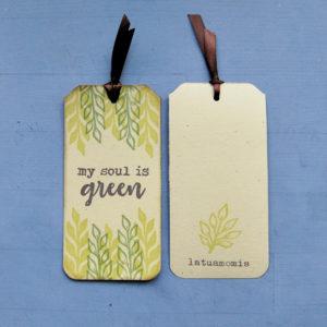 Segnalibro in carta riciclata My Soul Is Green coppia